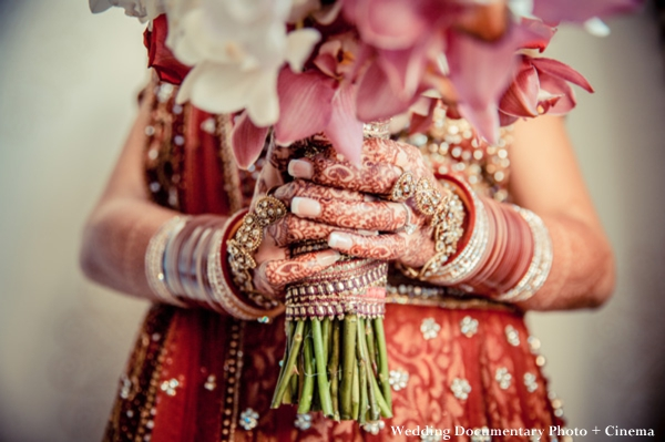 Indian bride with haath phool and bridal mehndi.
