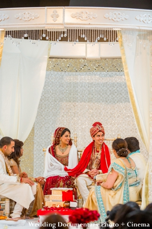 indian bride and groom under mandap at indian wedding ceremony