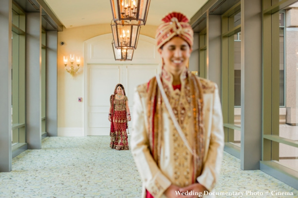 First look photos for Indian bride and groom
