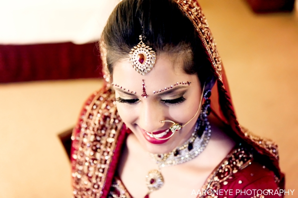 Indian bridal jewelry set on traditional Indian bride