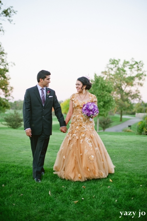 Indian bride evening gown ideas in gold
