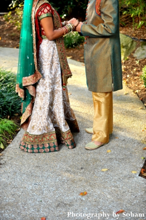 Indian wedding portrait of indian bride and groom