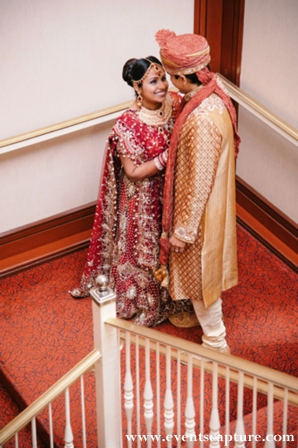 Indian bride and groom in wedding portrait.