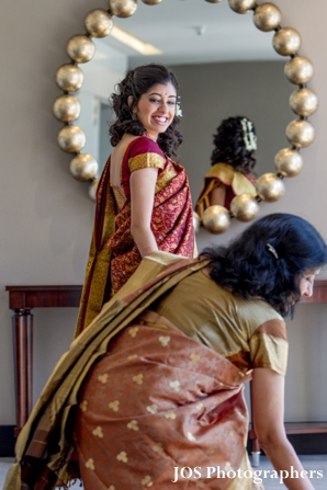 South Indian bride in south indian wedding sari