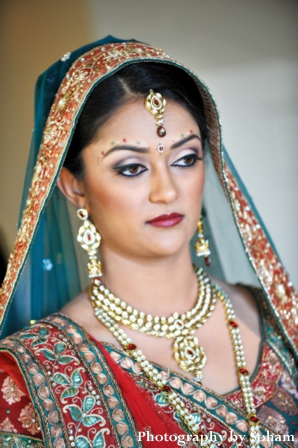 Indian bridal hair and makeup ideas on wedding day.