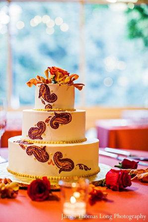 Indian wedding cake with henna or mehndi designs.