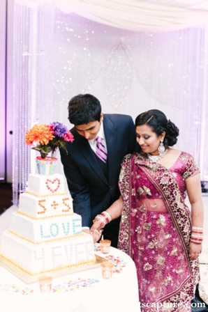 Indian wedding cake with m&m candies.
