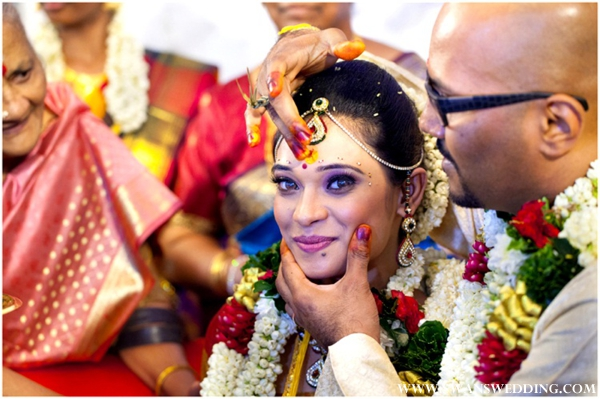 South Indian bride at indian wedding ceremony