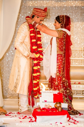 indian wedding ceremony with indian bride and groom