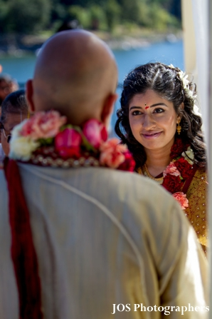 Indian bride and groom at south indian wedding ceremony