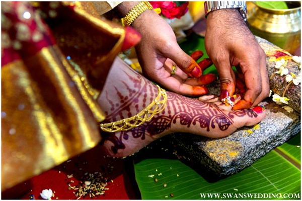 Bridal mehndi on feet of south indian bride