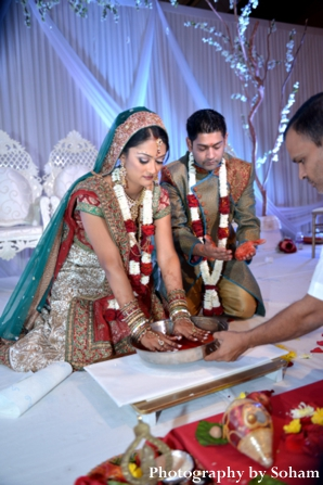 Indian bride and groom at modern indian wedding ceremony