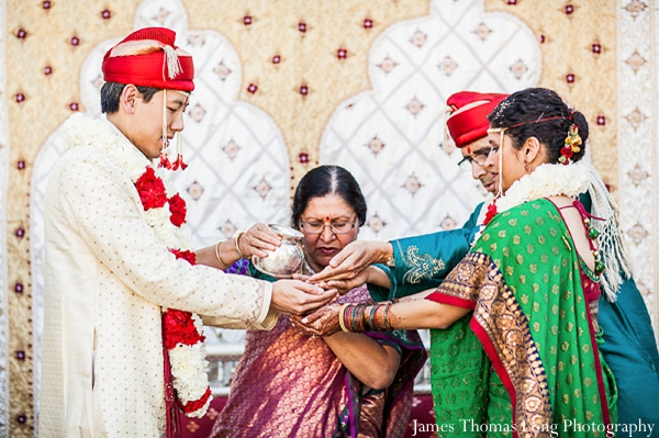 Indian bride and groom wed at fusion indian wedding ceremony.