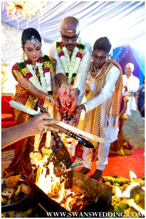 South Indian bride and groom at wedding ceremony