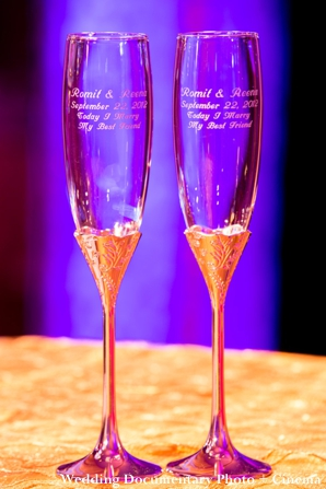 Indian wedding champagne glasses personalized.