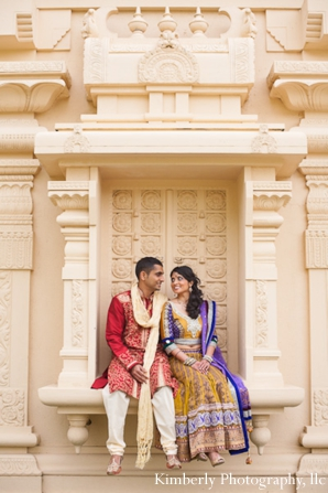 Indian bride and groom portraits in engagement photo shoot