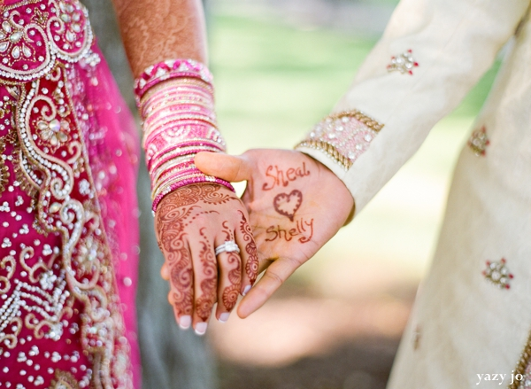 Indian bride and groom portrait ideas with bridal henna