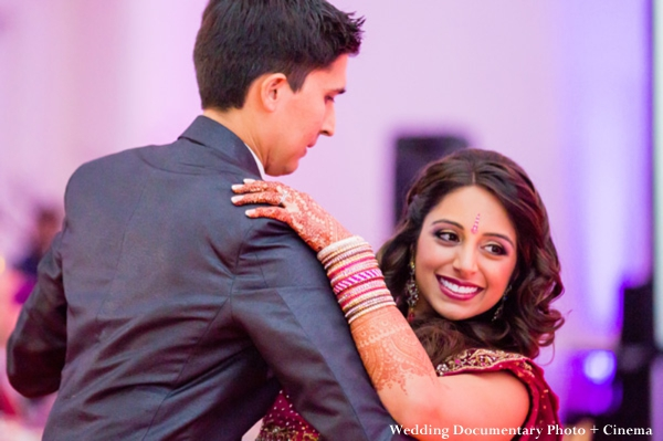 Indian bride and groom at indian wedding reception.