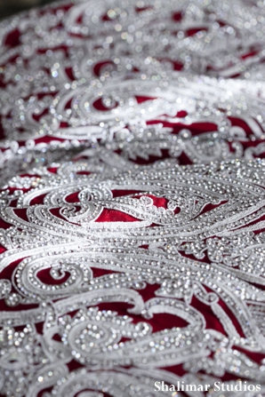 Indian wedding lengha in red and silver beading