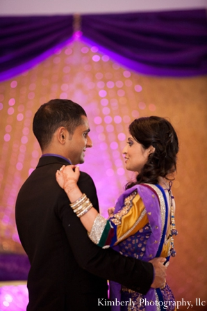 indian bride and groom dance at engagement party