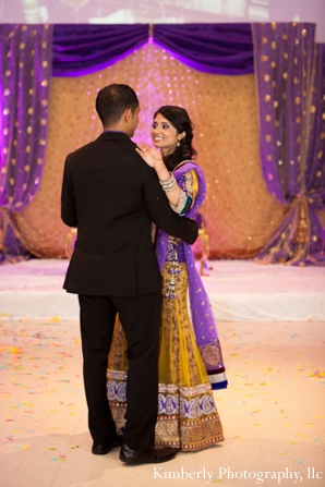 indian bride in yellow engagement party lengha