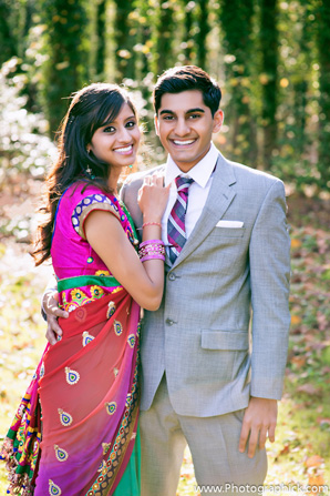 Indian bride in wedding sari for Indian wedding engagement photos