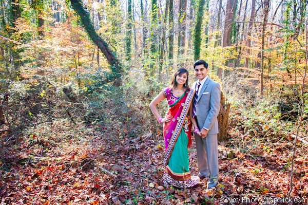 Indian bride in bold wedding sari for engagement wedding photos