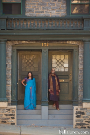 indian bride in blue sari for wedding engagement shoot