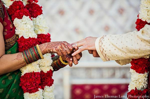 Indian bridal henna or mehndi at south indian wedding.