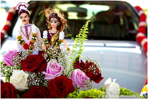 Indian bride and groom decor for transportation vehicle.