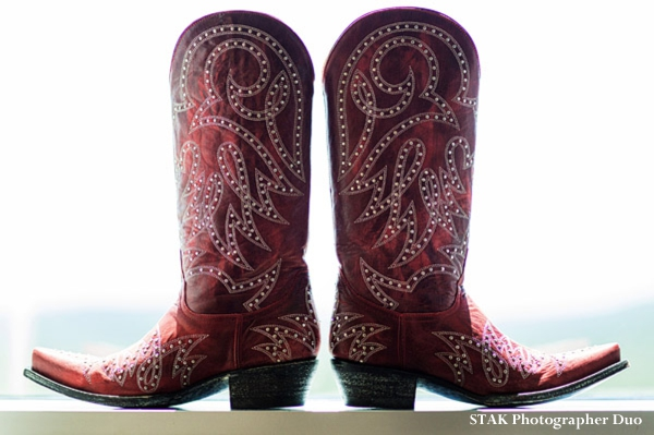 Fusion indian wedding with texan pride and cowboy boots