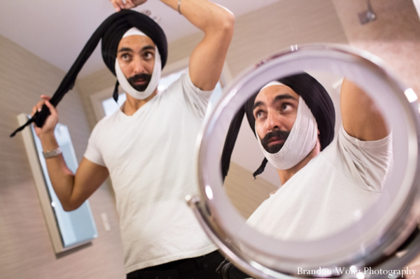 Indian wedding photography of Sikh groom getting ready for wedding reception