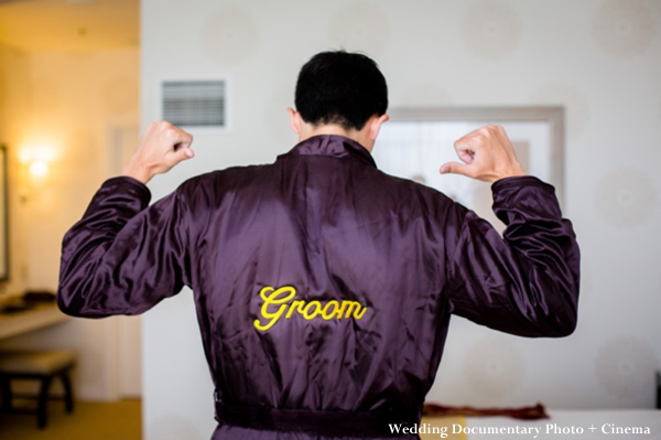 Indian wedding groom in personalized robe