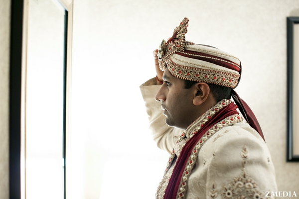Indian groom gets ready for indian wedding