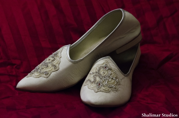 Traditional Indian wedding groom shoes.