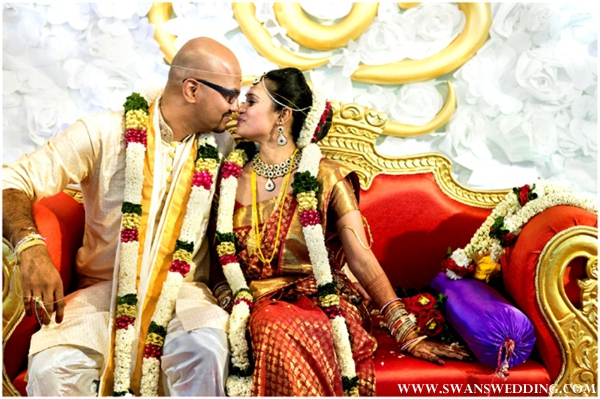 South Indian bride take indian wedding portraits.