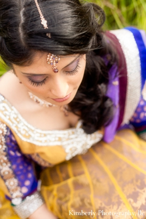 Indian bride with tikka in engagement shoot portrait