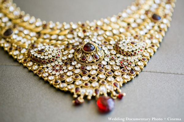 Indian wedding bridal necklace in gold and ruby