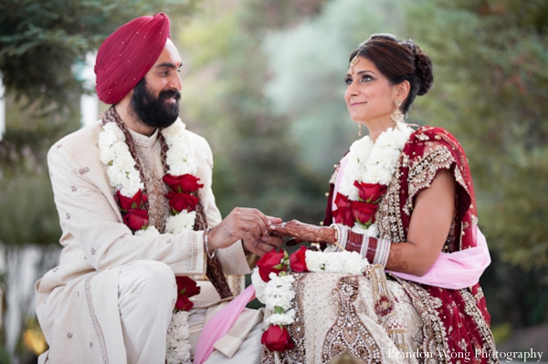 Indian bride and groom at outdoor Gujarati Indian wedding ceremony.