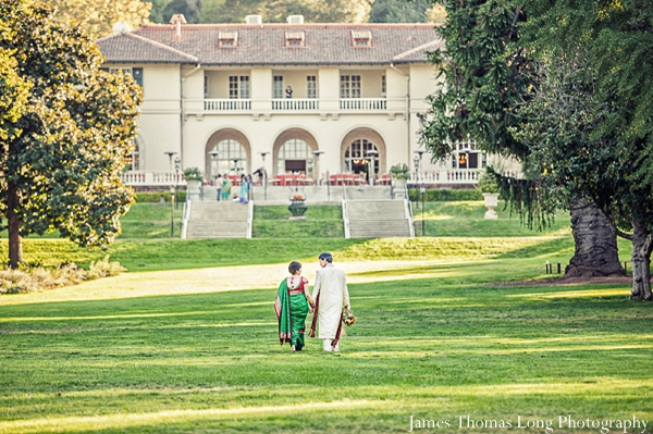 Indian wedding portrait shows off outdoor indian wedding venue.