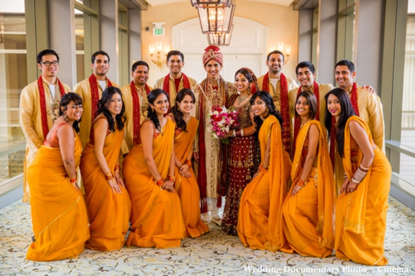 Indian wedding bride and groom with wedding party.