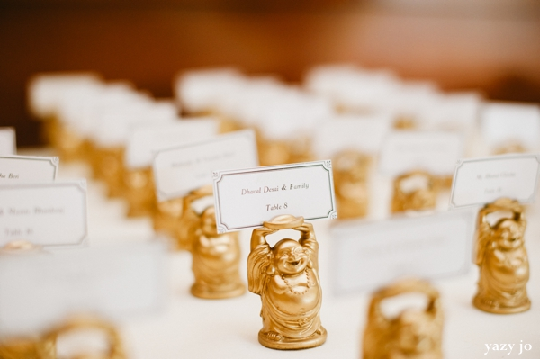 Indian wedding place cards holder ideas with buddha statues