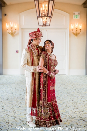 Indian bride and groom gets their portrait taken at Indian wedding ceremony