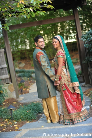 Indian bride and groom in indian wedding portrait