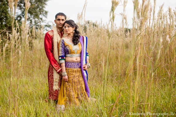 Indian bride wears colorful lengha for indian wedding photo shoot