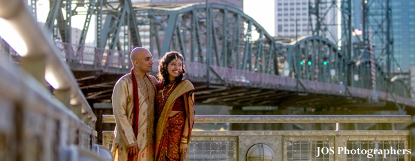 Indian wedding portrait in urban landscape by indian wedding photographer