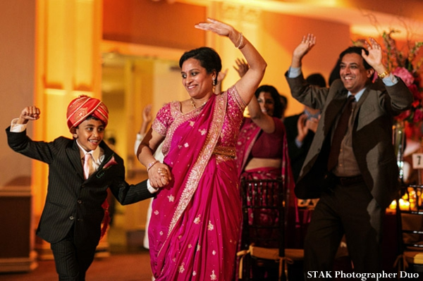 Indian wedding reception guests.