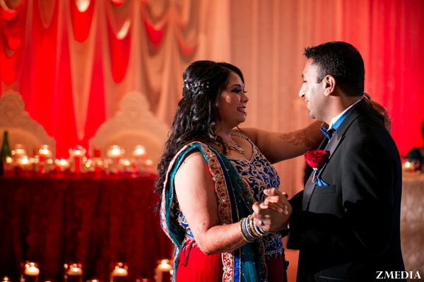 indian bride and groom dance at reception