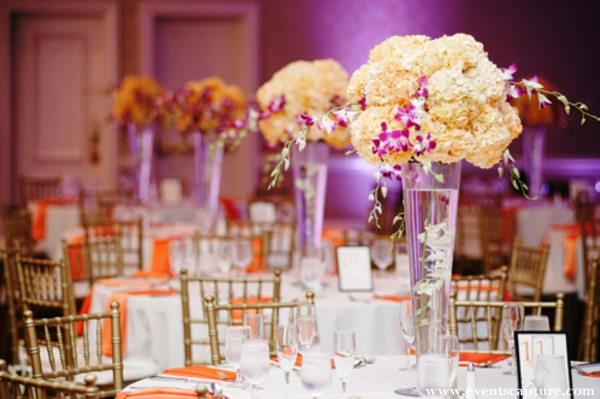 Indian wedding floral and decor ideas for guest tables.