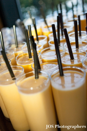 Indian wedding reception mango lassi beverage